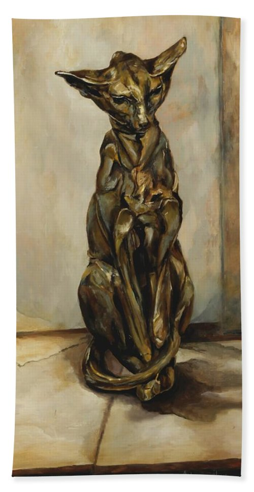 Cat Sculpture Hand Towel featuring the painting Still Life With Cat Sculpture by Jolante Hesse