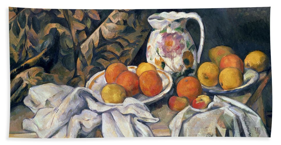 Post-impressionist Hand Towel featuring the painting Still Life With Drapery by Paul Cezanne
