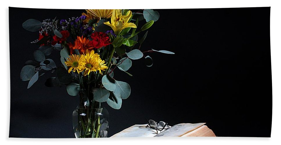 Still Life Hand Towel featuring the photograph Still Life With Flowers by Joe Kozlowski