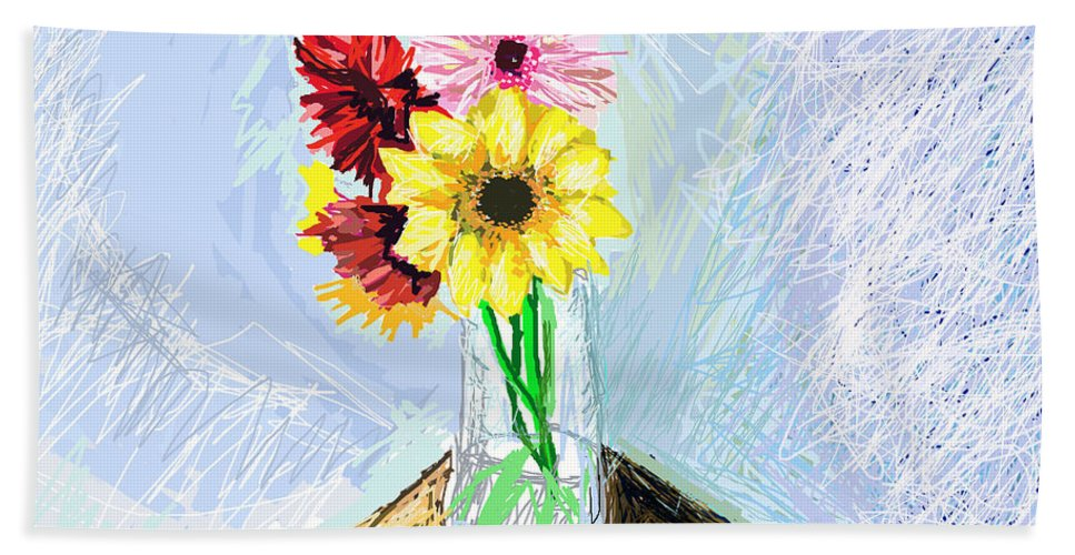 Images Of Flowers.flower Art.flower Photos Hand Towel featuring the digital art Still Life With Flowers by Paul Sutcliffe