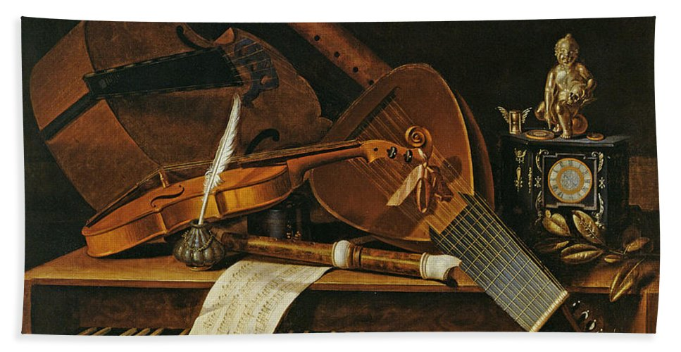 Violin Hand Towel featuring the painting Still Life With Musical Instruments by Pieter Gerritsz van Roestraten