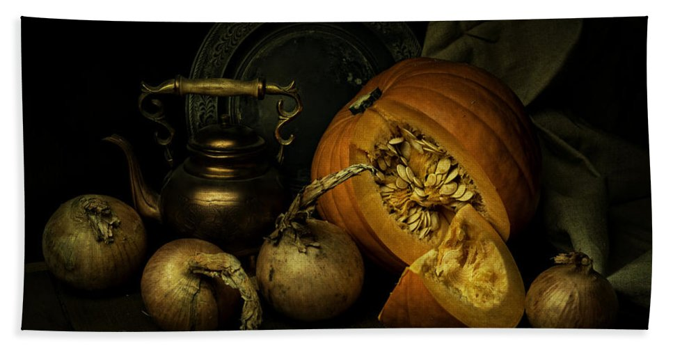 Still Life Bath Sheet featuring the photograph Still Life With Pumpkin And Onions by Jaroslaw Blaminsky