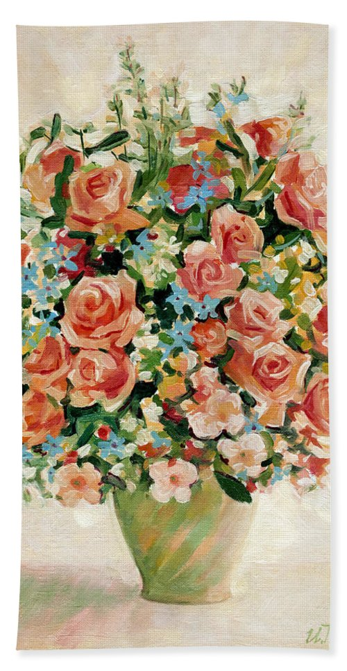 Flowers Bath Sheet featuring the painting Still Life With Roses by Iliyan Bozhanov