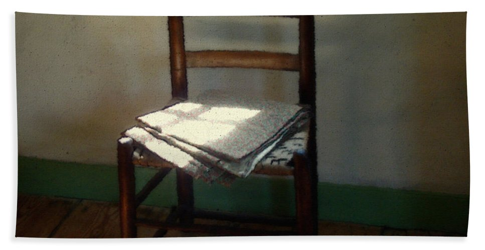 Chair Bath Towel featuring the painting Still Life With Straight Chair by RC DeWinter