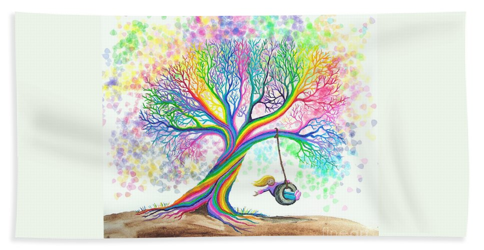 Colorful Art Bath Sheet featuring the painting Still More Rainbow Tree Dreams by Nick Gustafson