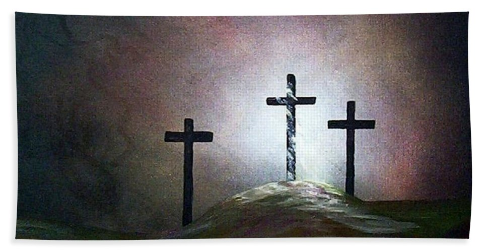 Jesus Bath Towel featuring the painting Still The Light by Eloise Schneider