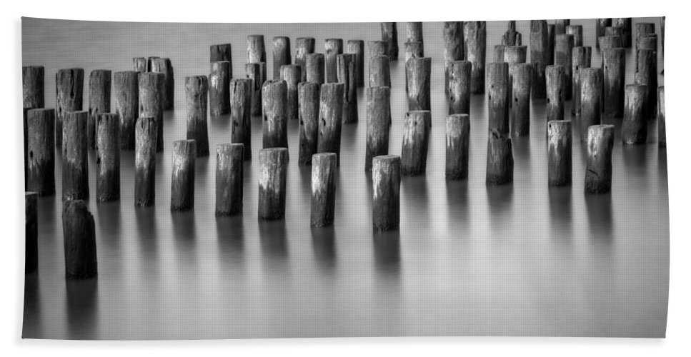 Hudson River Hand Towel featuring the photograph Still Waters Bw by Susan Candelario