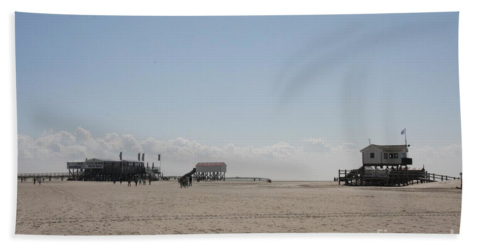 Beach Hand Towel featuring the photograph Stilt Houses - North Sea - Germany by Christiane Schulze Art And Photography
