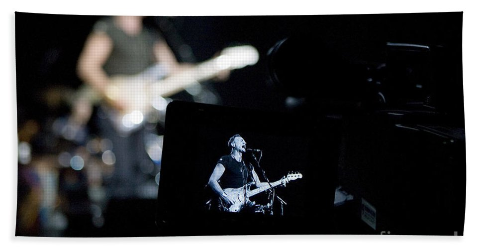 Sting Bath Sheet featuring the photograph Sting Of The Police On Video by Jason O Watson