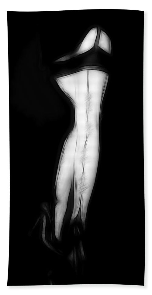 Stockings Lingerie Legs Sexy Erotic Black White Pencil Drawing Painting Woman Female Girl High Heels Sensual Devotion Bath Sheet featuring the painting Stockings In The Night by Steve K