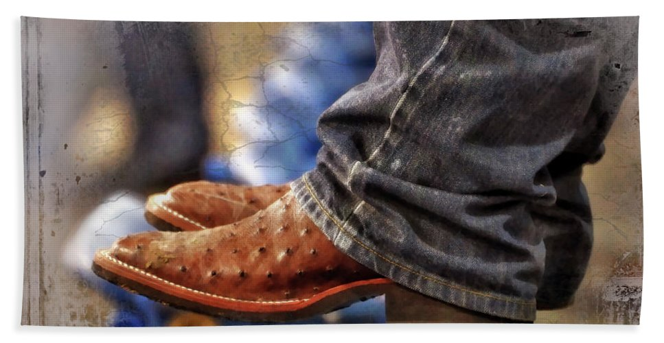 Adult Bath Towel featuring the photograph Stockshow Boots IIi by Joan Carroll