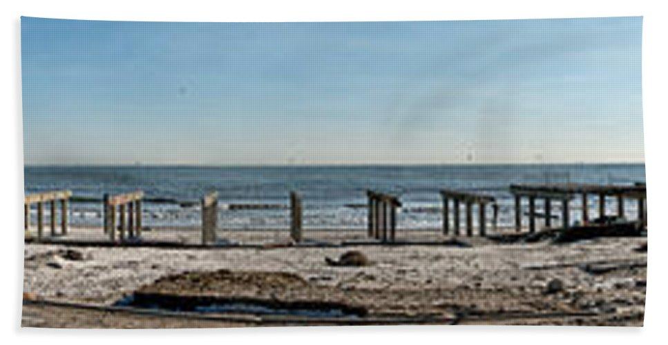 Hurricane Sandy Bath Sheet featuring the photograph Stolen Boardwalk by S Paul Sahm