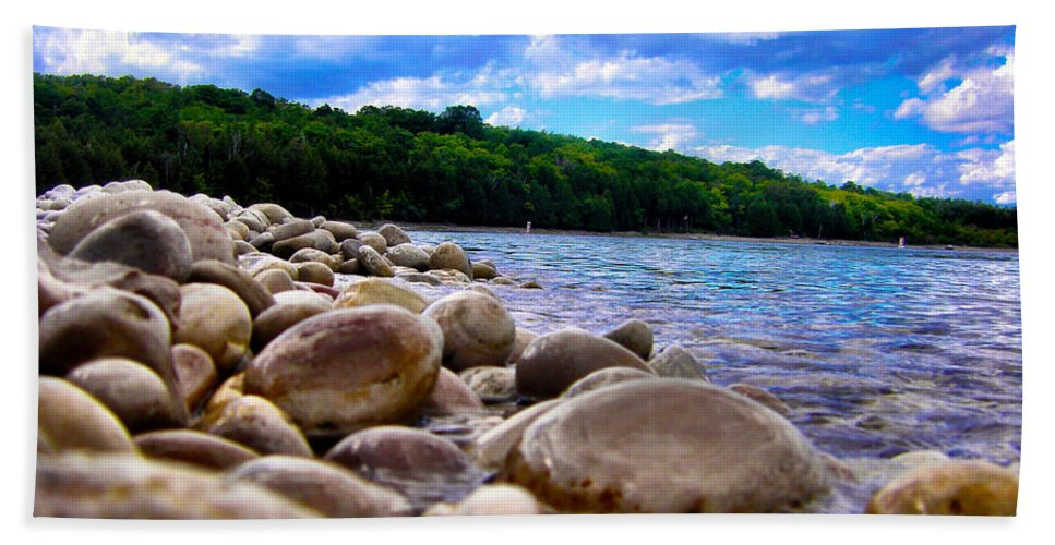 Beach Bath Sheet featuring the photograph Stone Beach by Zafer Gurel