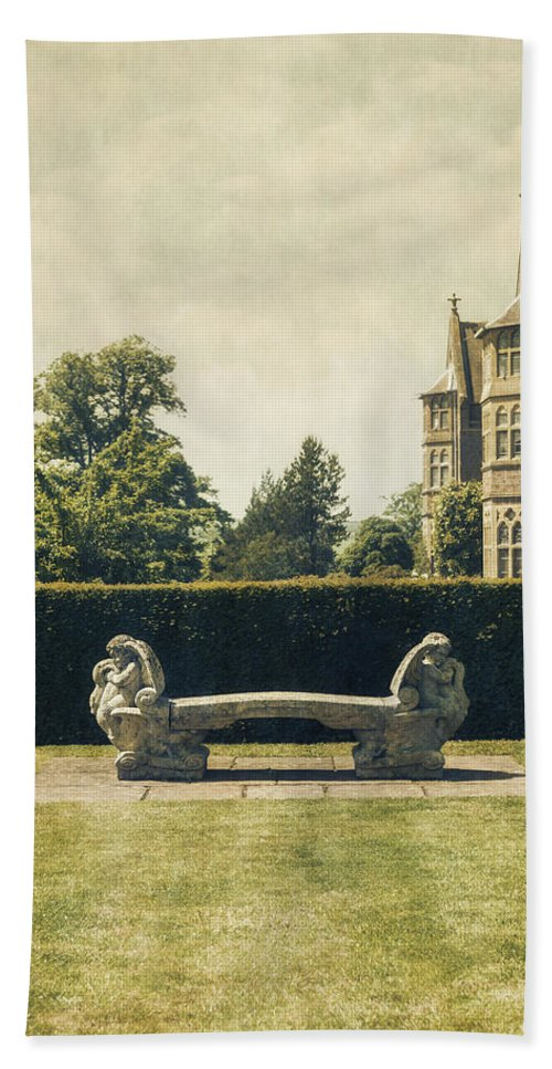 Manor Bath Towel featuring the photograph Stone Bench by Joana Kruse