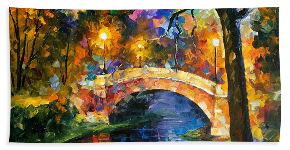 Oil Paintings Bath Sheet featuring the painting Stone Bridge - Palette Knife Oil Painting On Canvas By Leonid Afremov by Leonid Afremov