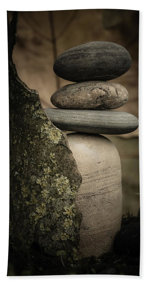 Cairns Hand Towel featuring the photograph Stone Cairns IIi by Marco Oliveira