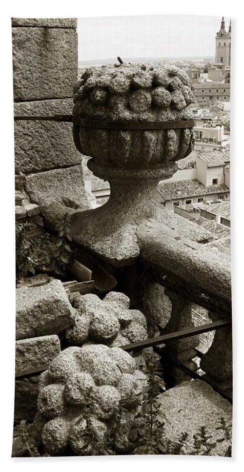 Toledo Bath Sheet featuring the photograph Stone Embellishments Of Jesuits Church by Lorraine Devon Wilke