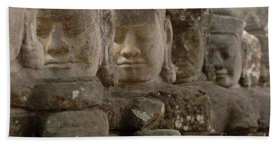 Cambodian Youth Bath Sheet featuring the photograph Stone Figures Cambodia by Bob Christopher
