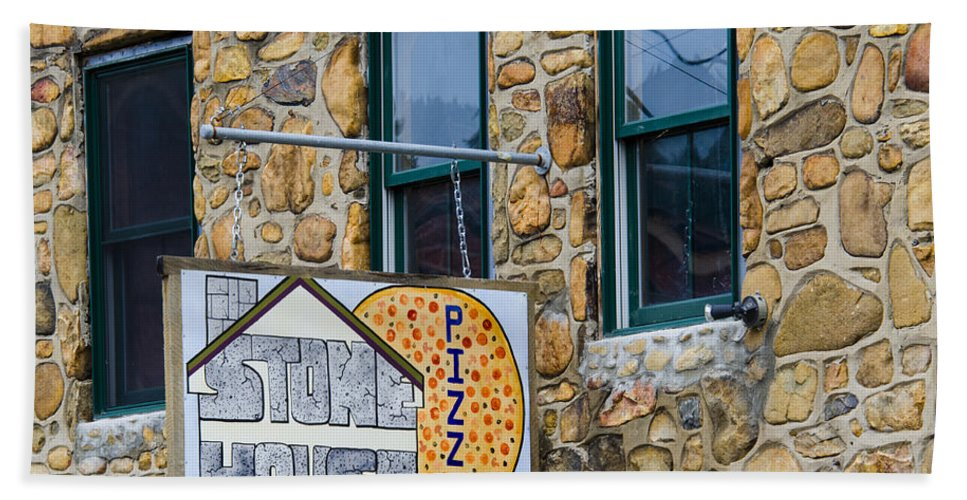 Stone House Pizza Hand Towel featuring the photograph Stone House Pizza by Carolyn Marshall