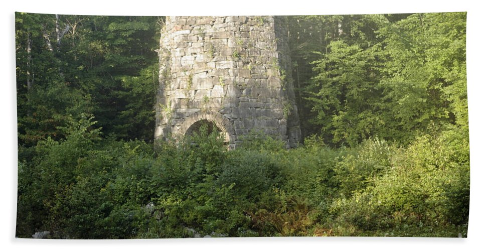 New England Bath Sheet featuring the photograph Stone Iron Furnace - Franconia New Hampshire by Erin Paul Donovan