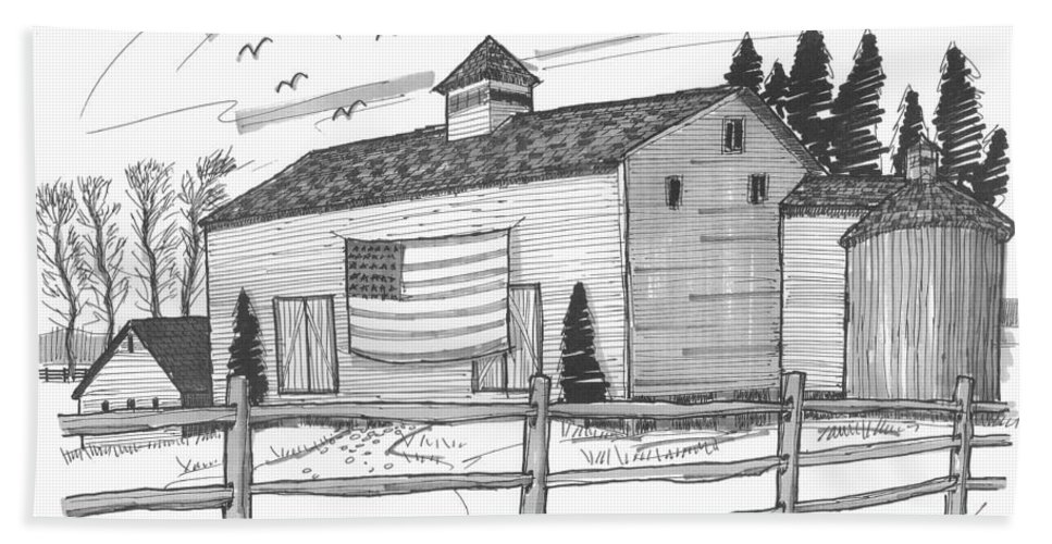 Barn Hand Towel featuring the drawing Stone Ridge Barn With Flag by Richard Wambach