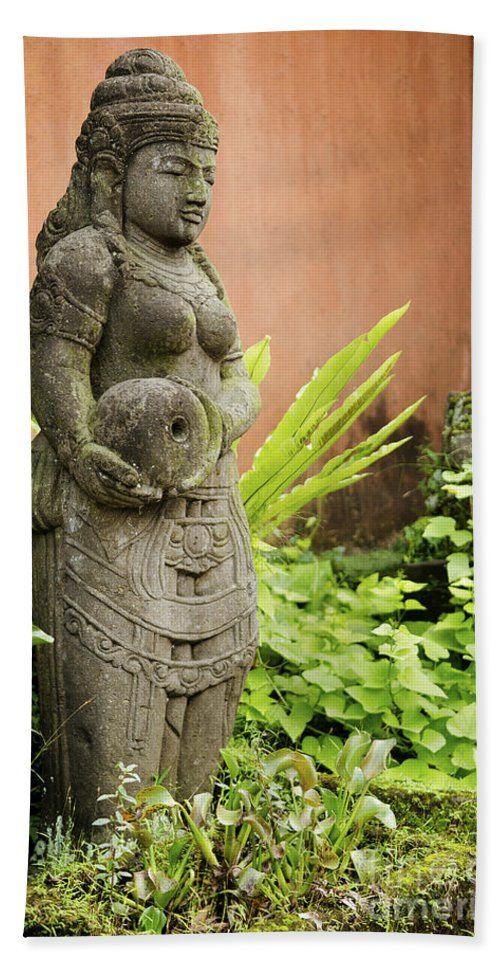 Ancient Bath Sheet featuring the photograph Stone Statue In Bali Indonesia by Jacek Malipan