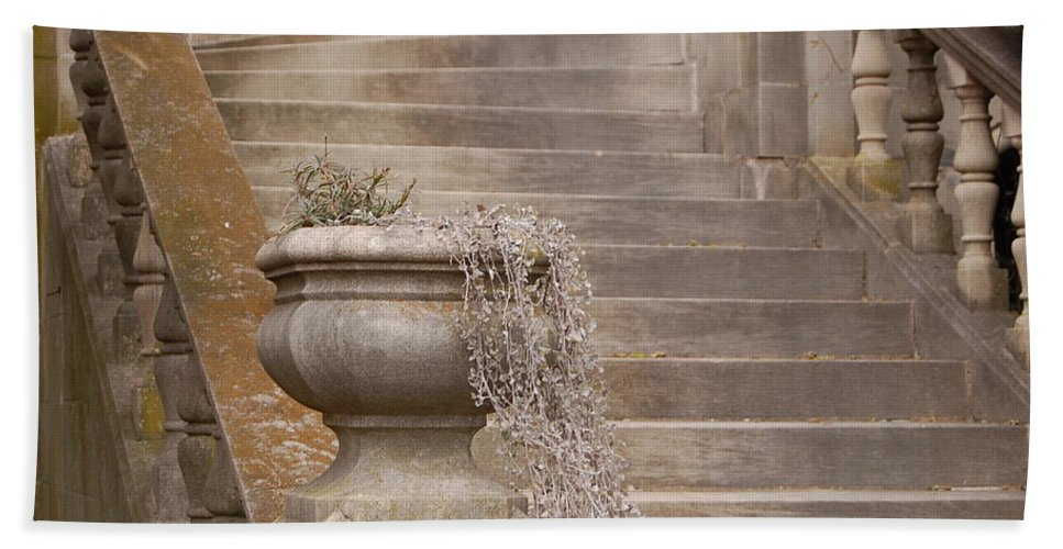 Stone Steps Hand Towel featuring the photograph Stone Steps National Cathedral by James DeFazio