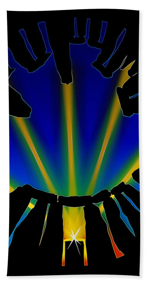 Solstice Hand Towel featuring the digital art Stonehenge Solstice by Neil Finnemore