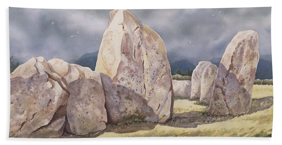 One Of Britain's Earliest Neolithic Monuments; Moorland Hand Towel featuring the painting Stones Of Castlerigg by Evangeline Dickson