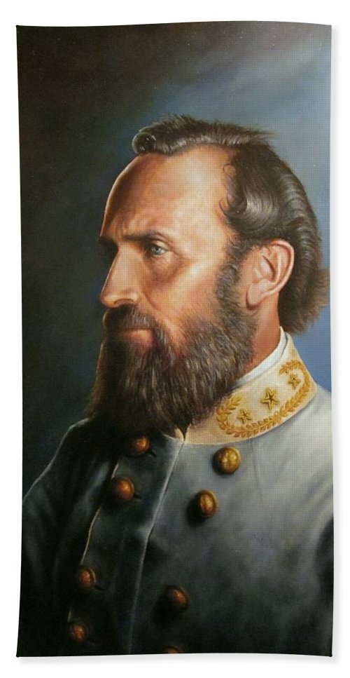 Stonewall Jackson Hand Towel featuring the painting Stonewall Jackson by Glenn Beasley