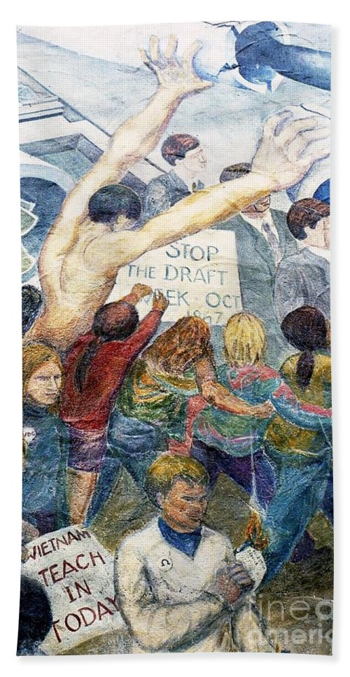 Mural Hand Towel featuring the photograph Stop The Draft Mural Berkeley Ca 1977 by Ed Weidman
