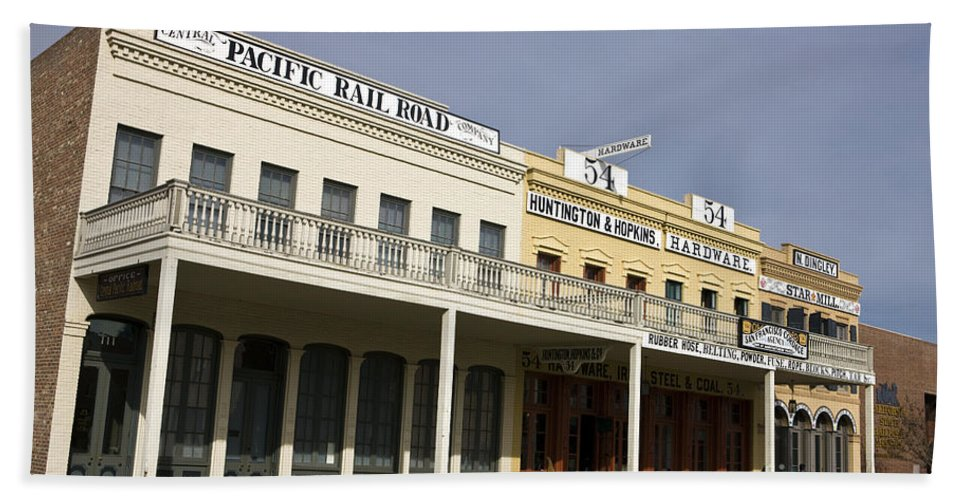 Travel Bath Sheet featuring the photograph Store Fronts Old Sacramento by Jason O Watson