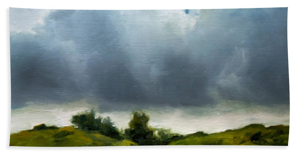 Storm Approaching Bath Sheet featuring the painting Storm Approaching by Anthony Enyedy