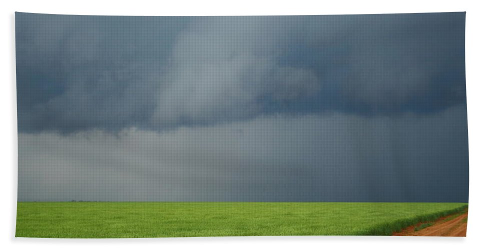 Storm Hand Towel featuring the photograph Storm Clouds Over Wheat Field 2am-6982 by Andrew McInnes
