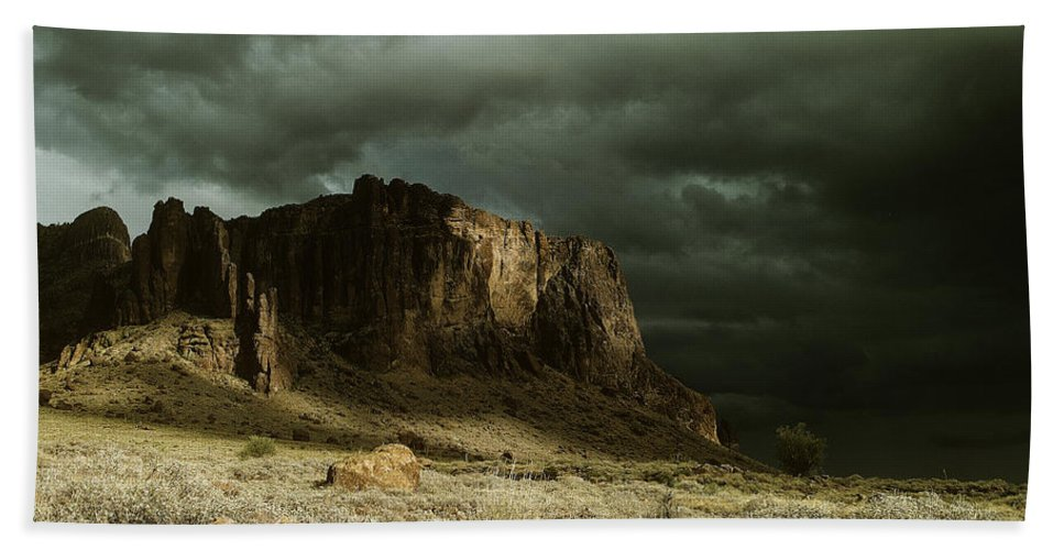 Storm Hand Towel featuring the photograph Storm In The Superstitions by Judy Bottler