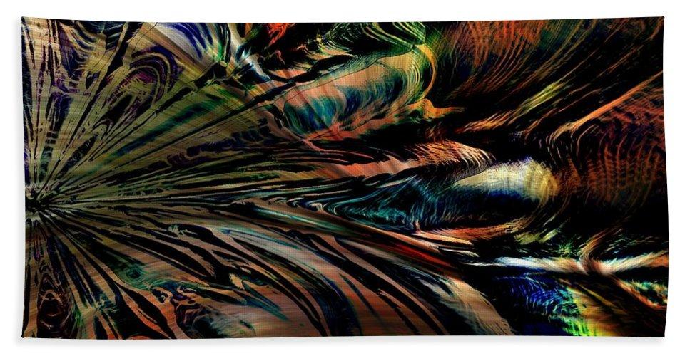 Abstract Bath Sheet featuring the digital art Storm On The Great Sea At Aquaran by Richard Thomas