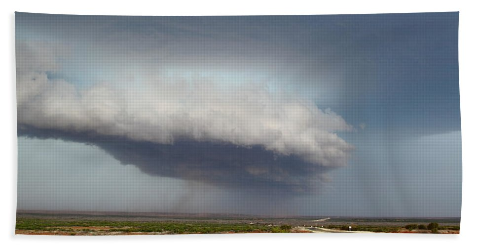 Thunderstorm Hand Towel featuring the photograph Storm Over Badlands 2am-115139 by Andrew McInnes