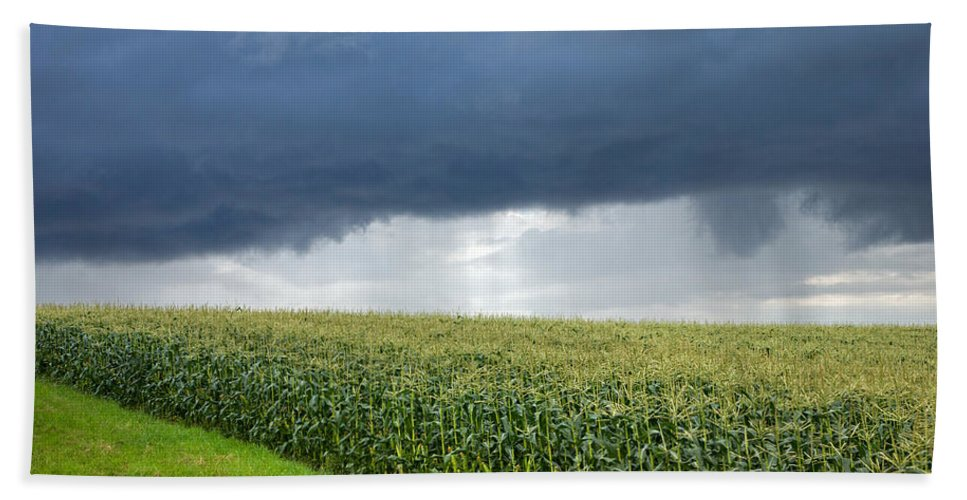 Corn Bath Sheet featuring the photograph Storm Over Cornfield In Southern Germany by Ian Middleton