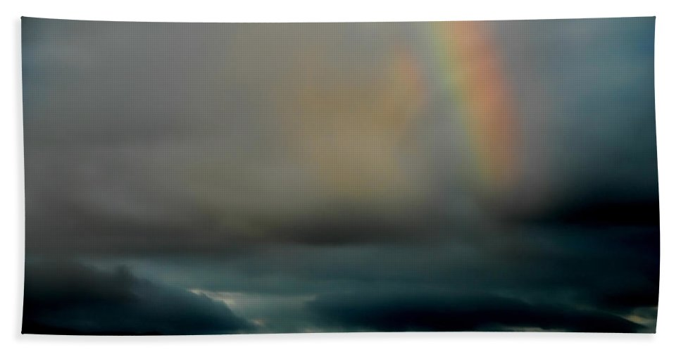 Rainbow Hand Towel featuring the photograph Storm Passing by Donna Blackhall