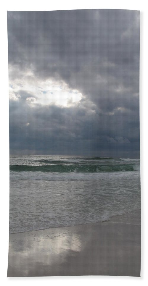 Clouds Hand Towel featuring the photograph Stormclouds Over The Sea by Christiane Schulze Art And Photography