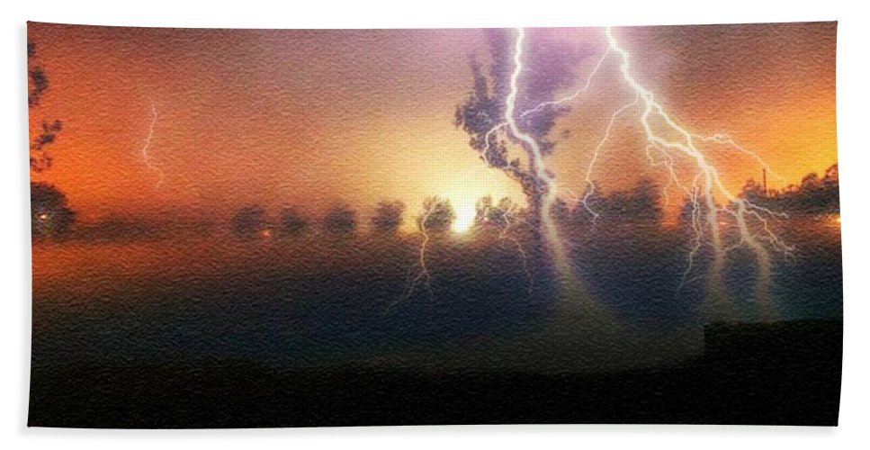 Storm Hand Towel featuring the photograph Stormfront by Ellen Cannon