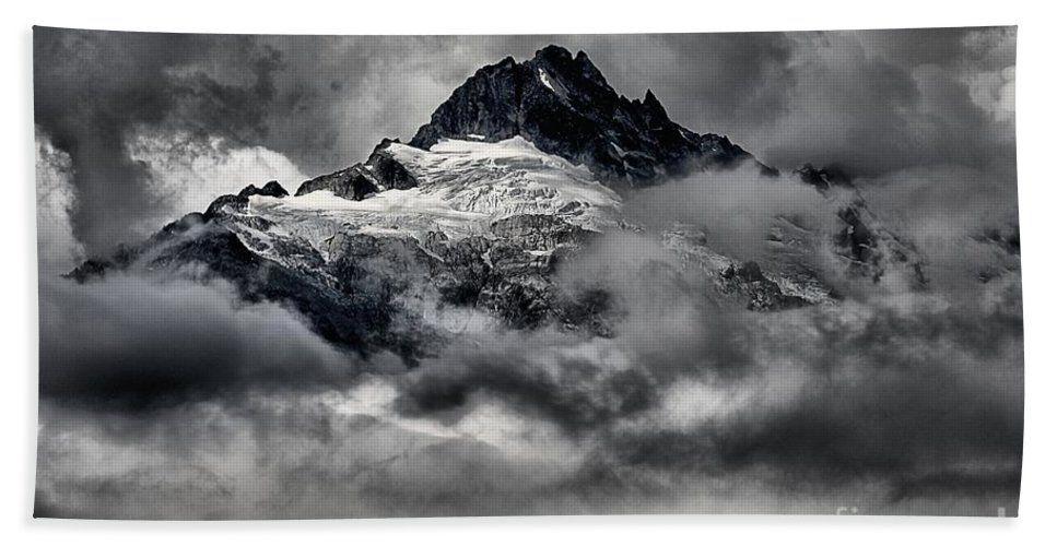 Tantalus Bath Sheet featuring the photograph Storms Over Glaciers And Rugged Peaks by Adam Jewell