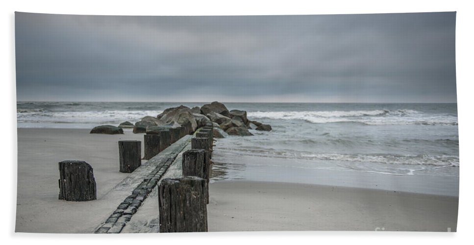 Folly Beach Hand Towel featuring the photograph Stormy Beach Forcast by Dale Powell