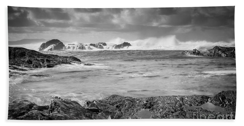 Botanical Beac Hand Towel featuring the photograph Stormy by Carrie Cole