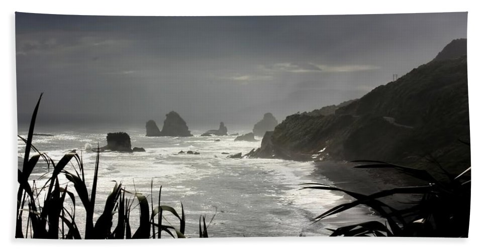 New Zealand Bath Sheet featuring the photograph Stormy Coast New Zealand by Amanda Stadther