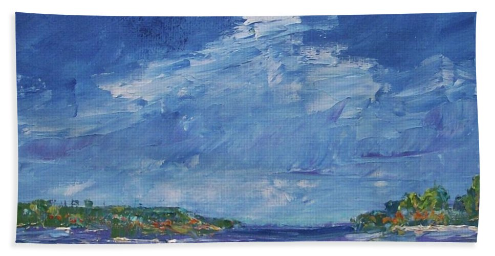 Landscapes Bath Sheet featuring the painting Stormy Day At Picnic Island by Gail Kent