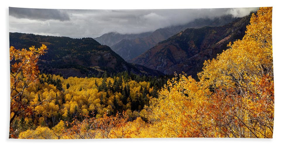 Wasatch Mountains Hand Towel featuring the photograph Stormy Fall Along The Alpine Loop - Utah by Gary Whitton
