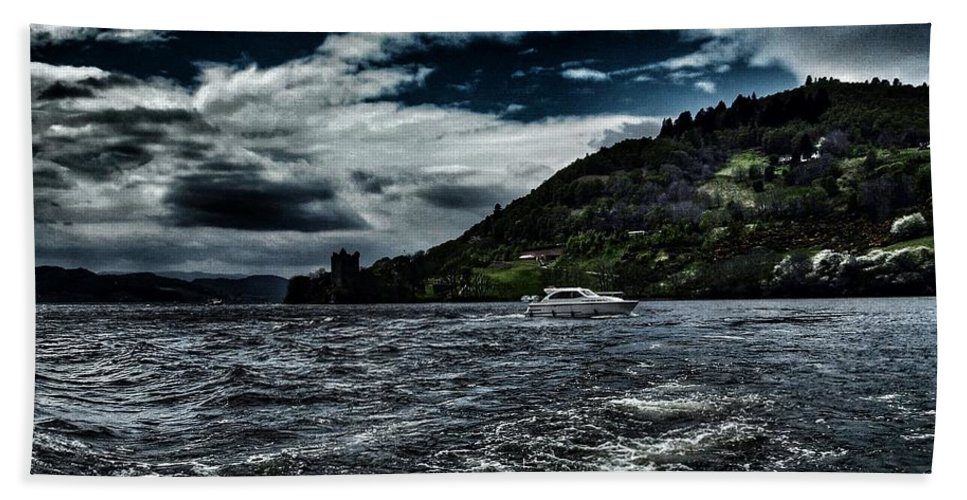 Urquhart Castle Bath Sheet featuring the photograph Stormy Loch Ness by Joan-Violet Stretch