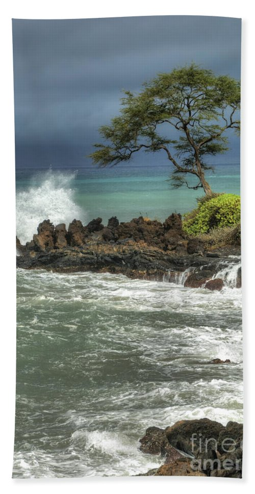 Waterscape Hand Towel featuring the photograph Stormy Maui Morning by Sandra Bronstein