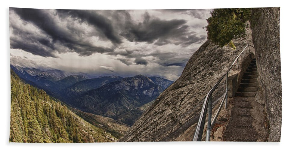 Moro Rock Bath Sheet featuring the photograph Stormy Skies On Moro Rock by Angela Stanton